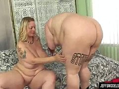 Horny BBWs Big Tender and SinFul Samia Play with Each Others Tits and Pussies