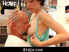Old fella porking bold shorthaired youth in the kitchen mom tube
